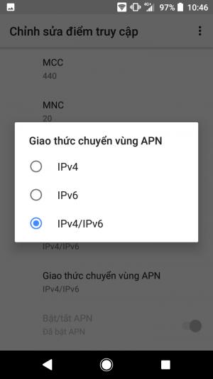 Giao thức chuyển vùng APN IPv4/IPv6